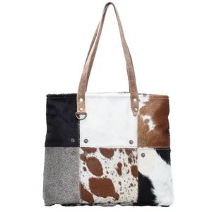 NEW Patchwork Cow Hide Tote Bag